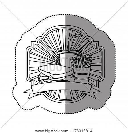 contour french fries, sandwich and soda inside emblem ribbon, vector illustration
