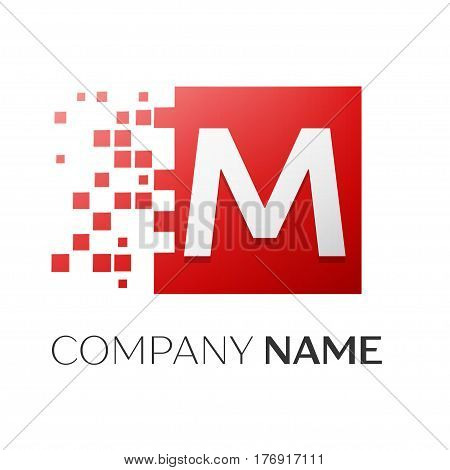 Letter M vector logo symbol in the colorful square with shattered blocks on white background. Vector template for your design