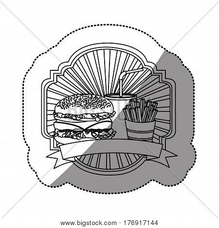 contour emblem with hamburger, soda and fries french and ribbon, vector illustration