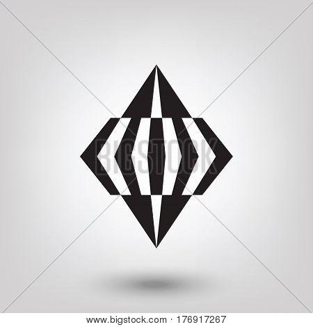 Geometric logo. Abstract arrow diamond or cristal shape. Modern logo design template.