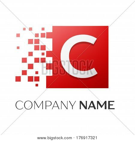 Letter C vector logo symbol in the colorful square with shattered blocks on white background. Vector template for your design