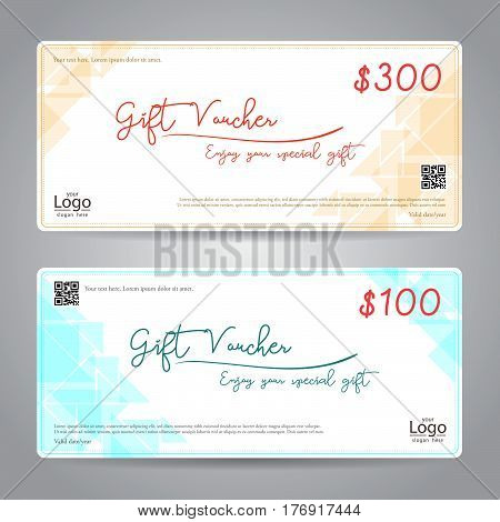 Elegant gift voucher or gift card or coupon template for discount or complimentary