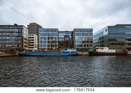 MALMO SWEDEN - MARCH 07 2017: Malmo cityscape business district modern architecture. Malmo is the growth center of southern Sweden.
