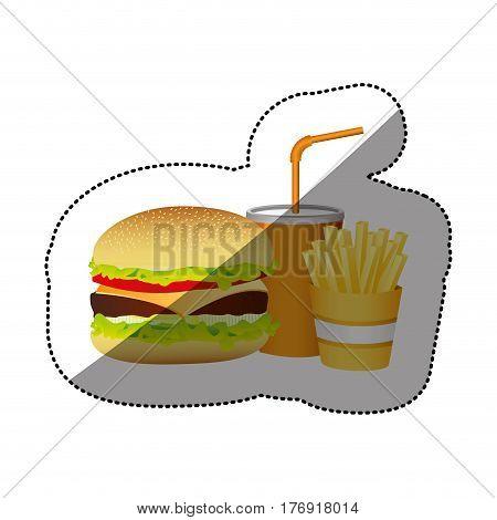 color hamburger, soda and fries french food, vector illustration