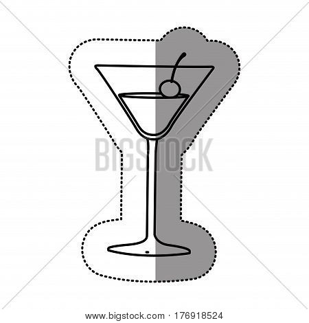 contour cocktail beverage with cherry icon, vector illustration design