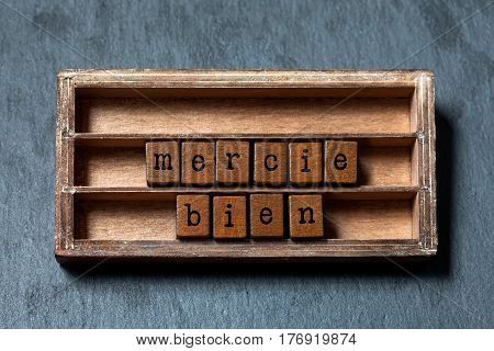 Mercie bien. Thank you very much written in French translation. Vintage box, wooden cubes phrase with old style letters. Gray stone textured background. Close-up, up view, soft focus