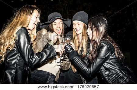 Four girls making party outdoor in the night