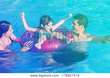 Family Swimming Pool Playing Togetherness Summer Holiday