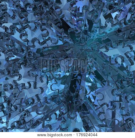 Crystal blue puzzle jigsaw 3d illustration horizontal background abstract