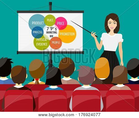 Businesswoman making presentation explaining charts on a white board. Business seminar. Marketing mix.
