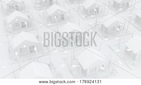 Small white houses many detached 3d illustration horizontal
