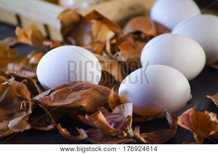 Onion husks for painting eggs for the Easter holiday