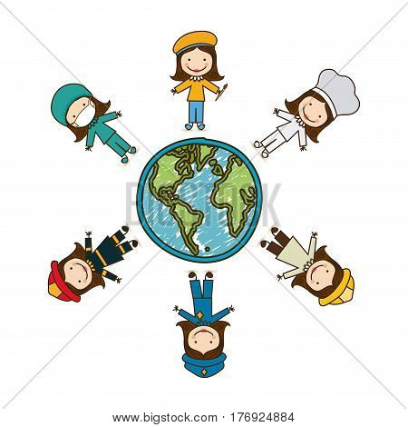 colorful caricature female people professions around world earth map vector illustration