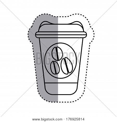 sticker silhouette glass disposable for hot drinks with lid vector illustration