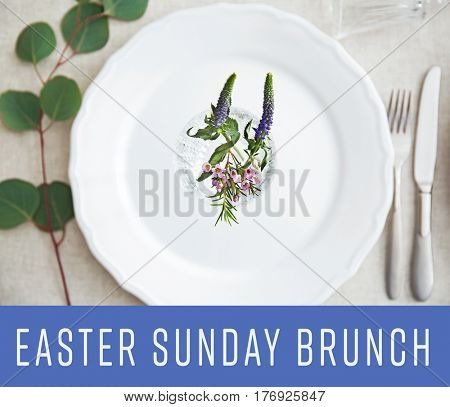 Text EASTER SUNDAY BRUNCH on background. Elegant table setting with floral decor
