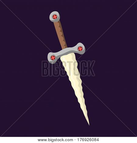 Knife weapon dangerous metallic razor of sword spear edged tool combat andbonder bayonet cold protection or attack steel arms vector illustration. Tactical protective medieval tool.