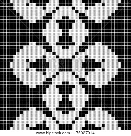 black and white curtain lace square geometric seamless texture background with cloverleaf pattern