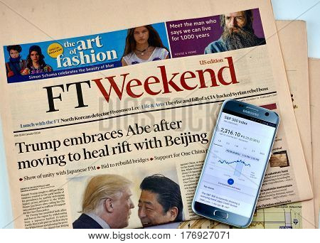 MONTREAL CANADA - MARCH 10 2017 : Financial Times newspaper. The Financial Times is an English-language international daily newspaper with a special emphasis on business and economic news.