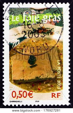 FRANCE - CIRCA 2003: a stamp printed in France shows Foie Gras is a luxury food product from France circa 2003