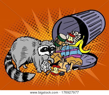Raccoon eats from the trash. A garbage can of street thief and homeless. Pop art vector illustration on an orange background
