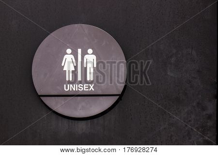 Black & White Circular Unisex Sign On Park Restrooms