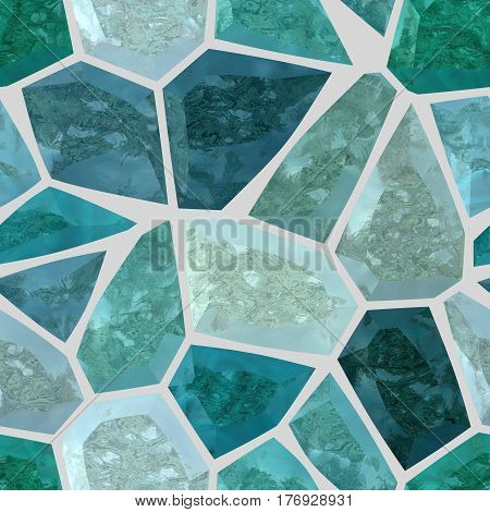 colored floor marble irregular plastic stony mosaic pattern texture seamless background with light gray grout - turquoise blue colors