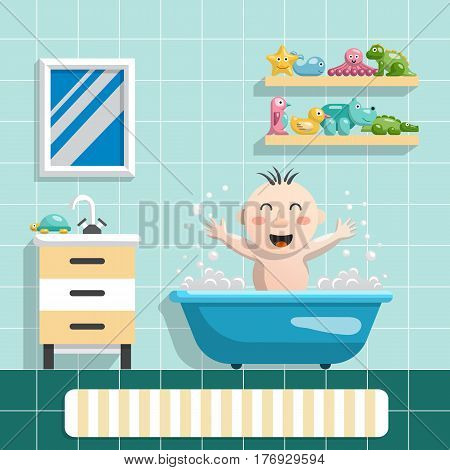 The interior of the bathroom and happy child who bathes with his toys for a swim, a flat vector illustration in cartoon style.