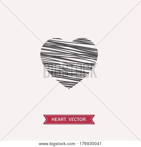 linear black heart icon, logo, symbol of love on white background. use in decoration, design, emblem. vector illustration.
