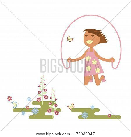 Illustration of child on a flower meadow - girl with skipping rope. Flat design of season. Vector illustration eps