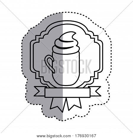 sticker shading silhouette border heraldic decorative ribbon with mug of cappuccino with cream vector illustration