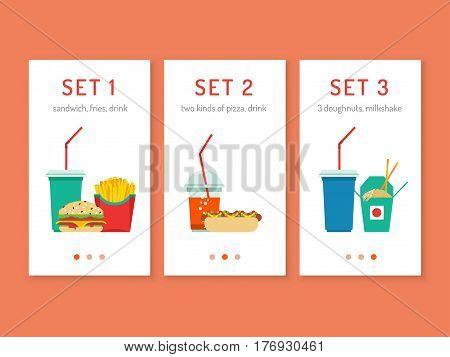 Template mobile app restaurant fast food. Vector illustration of a menu for a mobile phone website