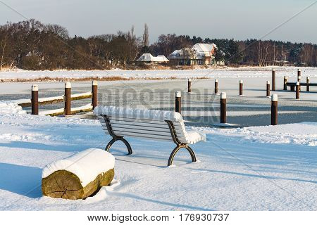 Winter time in Prerow (Germany) with snow.