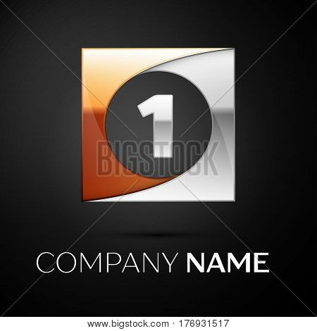 Number one vector logo symbol in the colorful square on black background. Vector template for your design