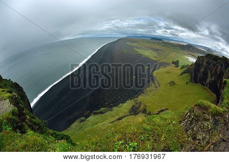 Rreykjavik, Iceland - August 29, 2016 photo of Dyrholaey Cliff Iceland