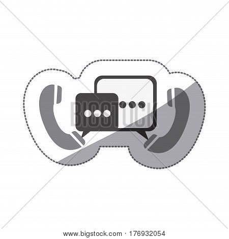 monochrome silhouette sticker of telephones with dialogue box vector illustration