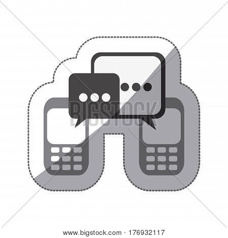 monochrome silhouette sticker of cell phones communication dialogue box vector illustration