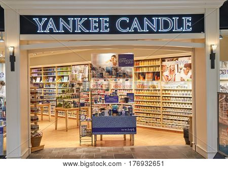 PLATTSBURGH USA - MARCH 5 2017 : Yankee Candle bootique. The Yankee Candle Company is an American manufacturer and retailer of scented candles.
