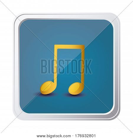 button of musical note in yellow with background blue vector illustration