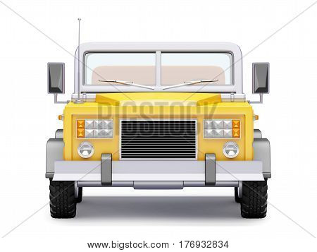 Yellow safari suv front view in retro cartoon style isolated on white. 3d illustration.
