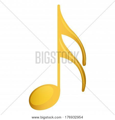 semiquaver note in golden with background white vector illustration
