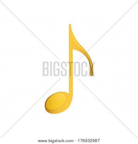 eighth note in golden with background white vector illustration