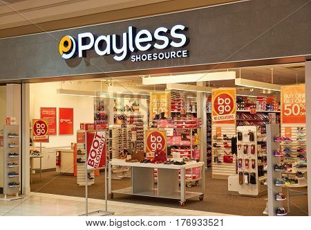PLATTSBURGH USA - MARCH 5 2017 : Payless ShoeSource bootique. Payless ShoeSource Inc. is an American discount footwear retailer