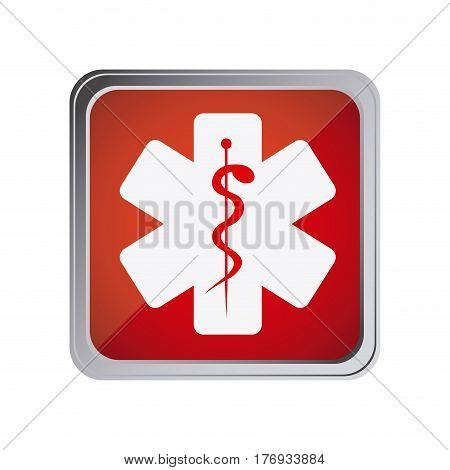 button with star of life with background red vector illustration