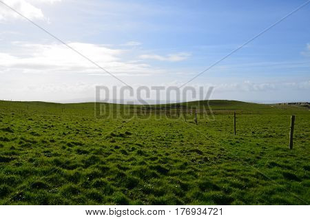 Ireland's grass field abutting the Cliff's of Moher in Ireland.