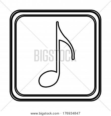monochrome contour with button of sign eighth note vector illustration