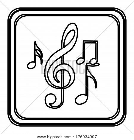 monochrome contour with button of sets musical notes vector illustration