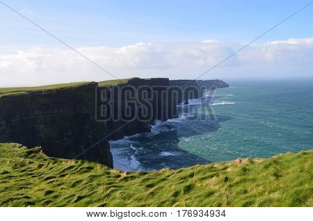 Ireland's iconic Cliff's of Moher with sweeping views.