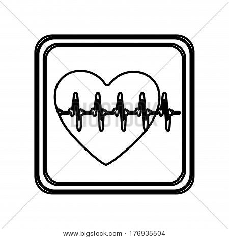 monochrome contour of button with heart vital sign vector illustration
