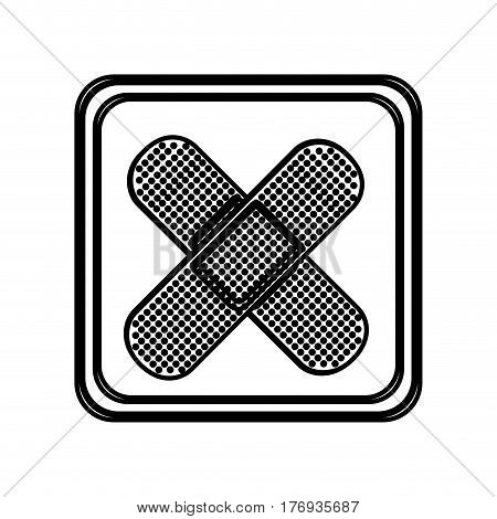 monochrome contour of button with crossed adhesive band vector illustration