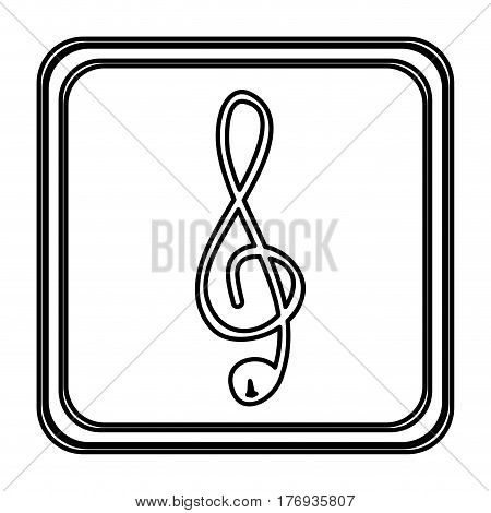 monochrome contour with button of treble clef vector illustration
